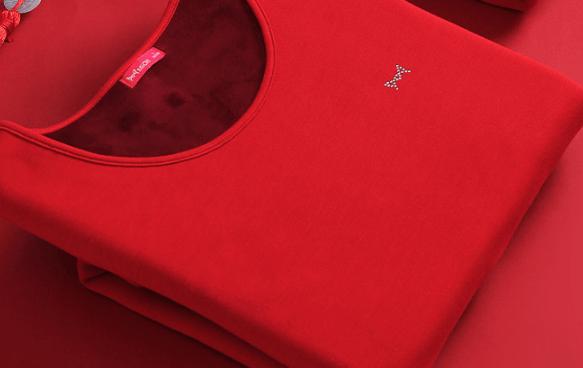 猫人红色保暖内衣