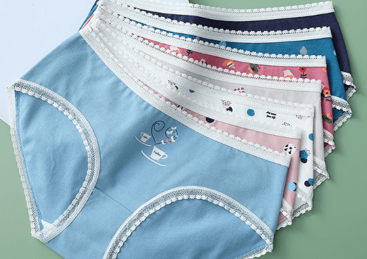猫人抗菌纯棉蕾丝边内裤